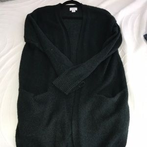 Dark Green Long Cardigan w Pockets